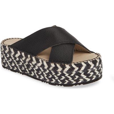 Chocolat Blu Niza Crisscross Platform Slide Sandal - Black