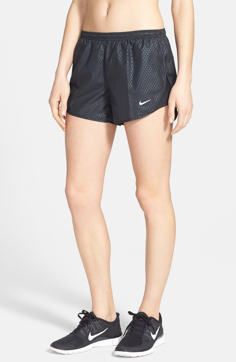NIKE 'Mod Tempo' Embossed Print Dri-FIT Running Shorts, Main, color, 010