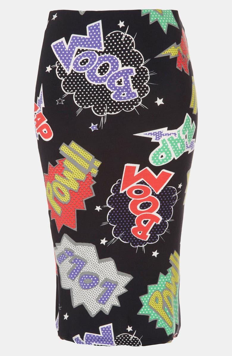 TOPSHOP 'Pow Boom' Print Midi Skirt, Main, color, Black