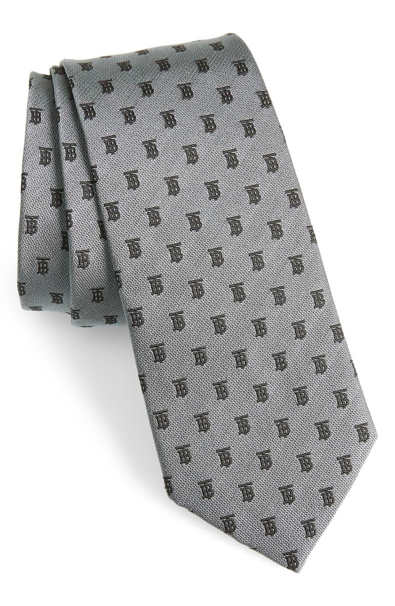 BURBERRY Manston Monogram Silk Tie, Main, color, MID GREY