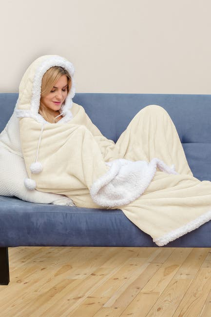 Image of Duck River Textile Solid Hooded Reversible Throw Blanket with Side Pockets - Ivory