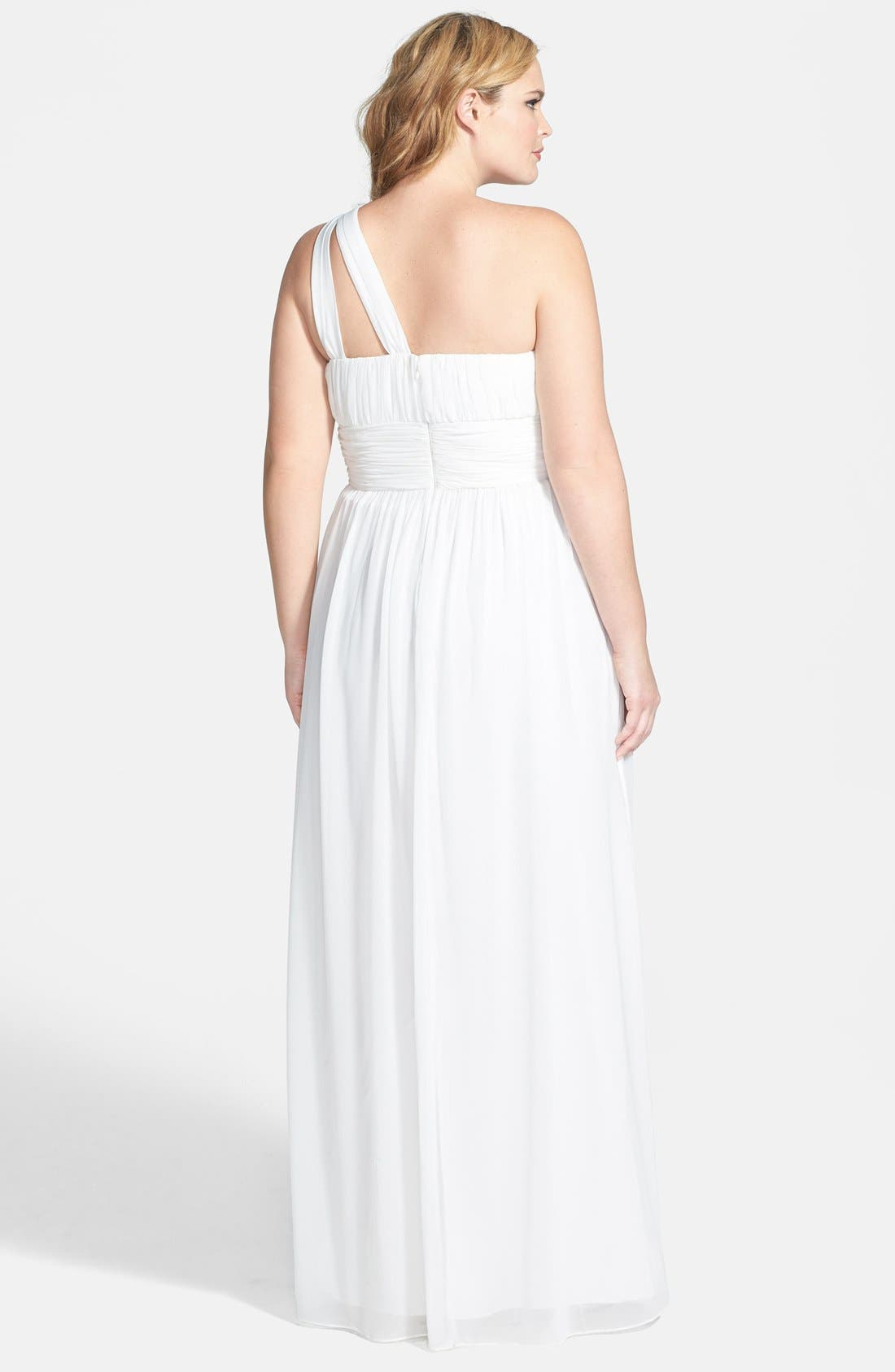 ,                             'Rachel' Ruched One-Shoulder Chiffon Gown,                             Alternate thumbnail 24, color,                             100