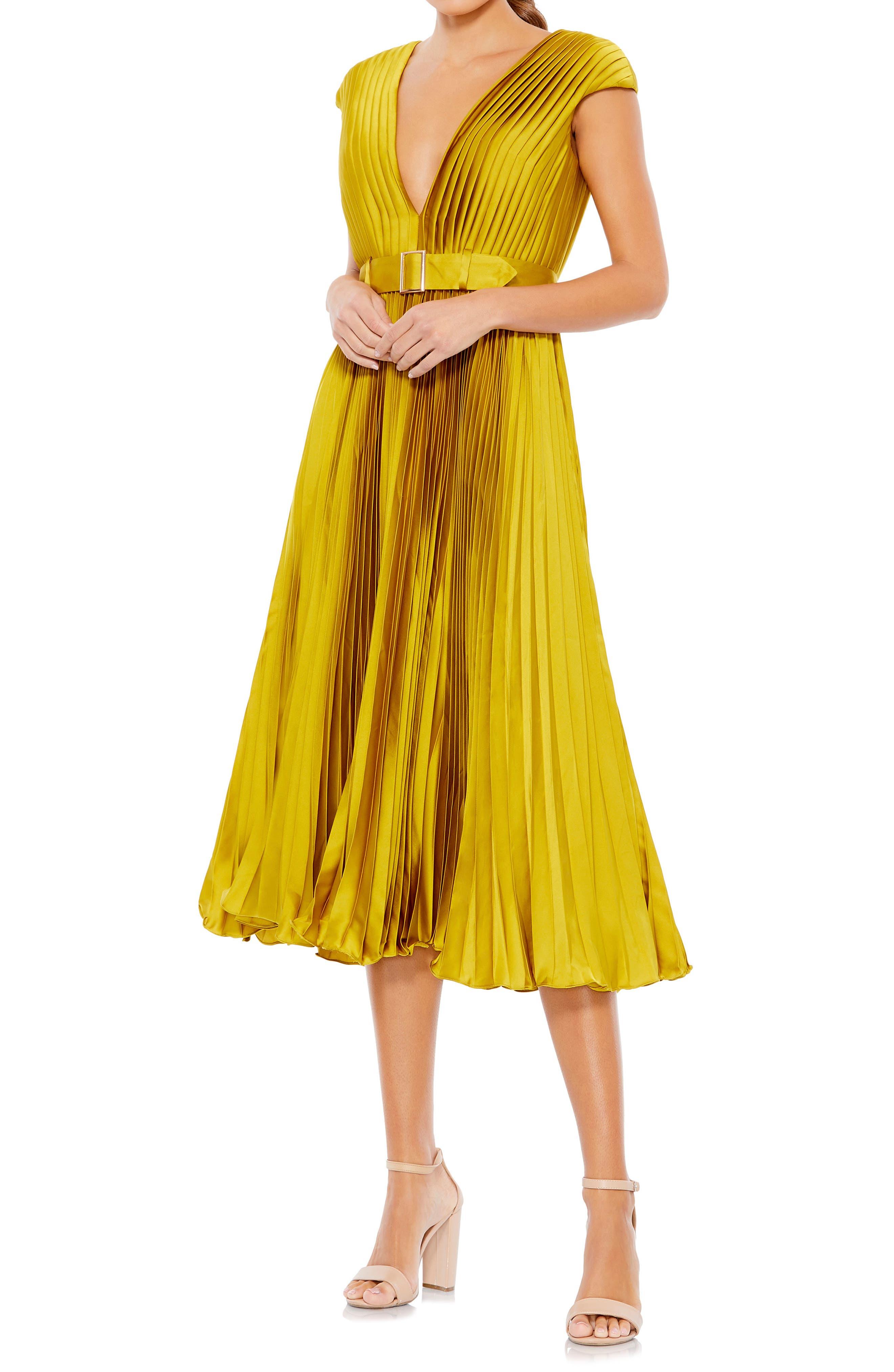 70s Dresses – Disco Dress, Hippie Dress, Wrap Dress Womens MAC Duggal Pleated Cap Sleeve Satin Midi Gown Size 16 - Yellow $338.00 AT vintagedancer.com