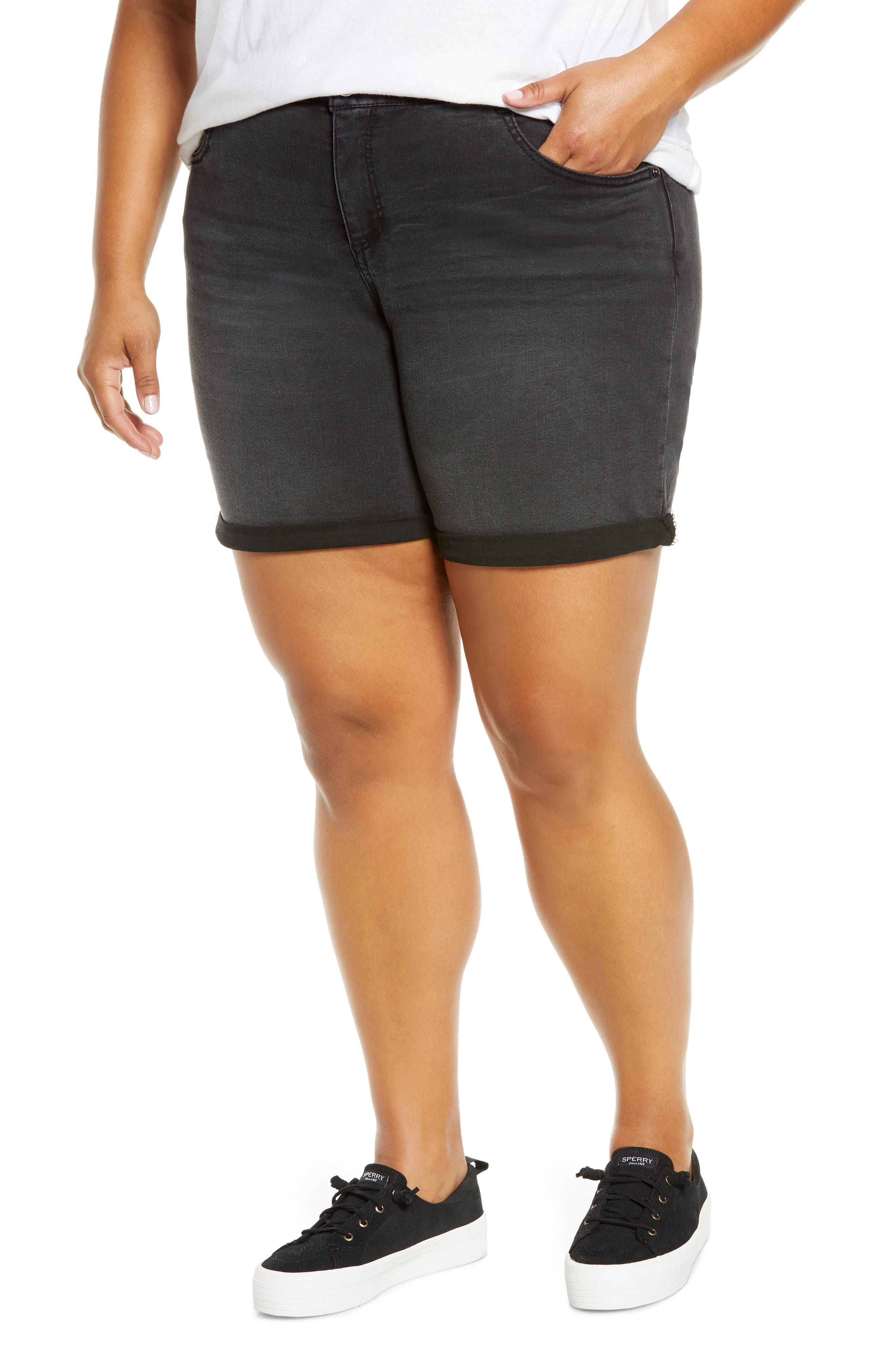 Plus Women's Wit & Wisdom Ab-Solution Stretch Denim Shorts