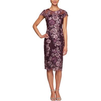 Petite Alex Evenings Embroidered Sheath Dress, Purple
