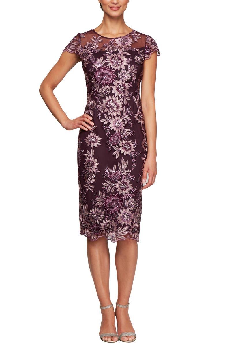 ALEX EVENINGS Embroidered Sheath Dress, Main, color, 500