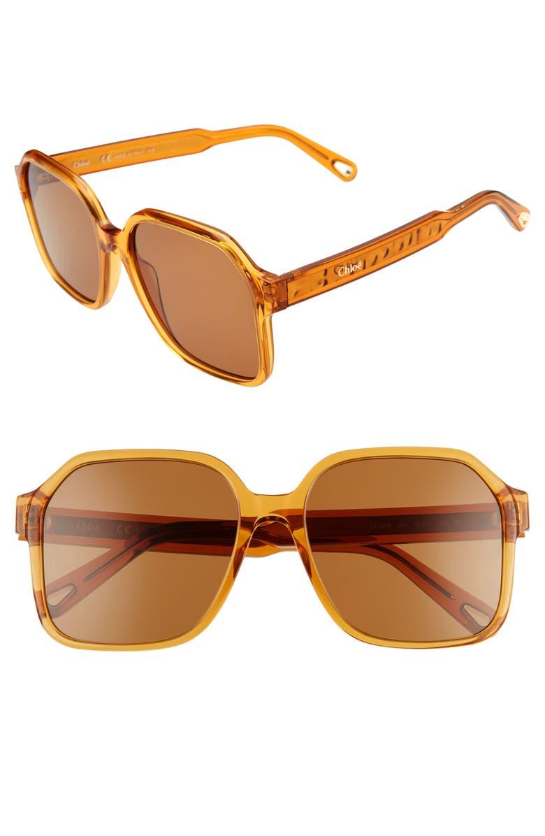 CHLOÉ Willow 56mm Gradient Rectangular Sunglasses, Main, color, BRICK