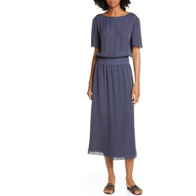 Theory Silk Rib Waist Midi Dress, Blue