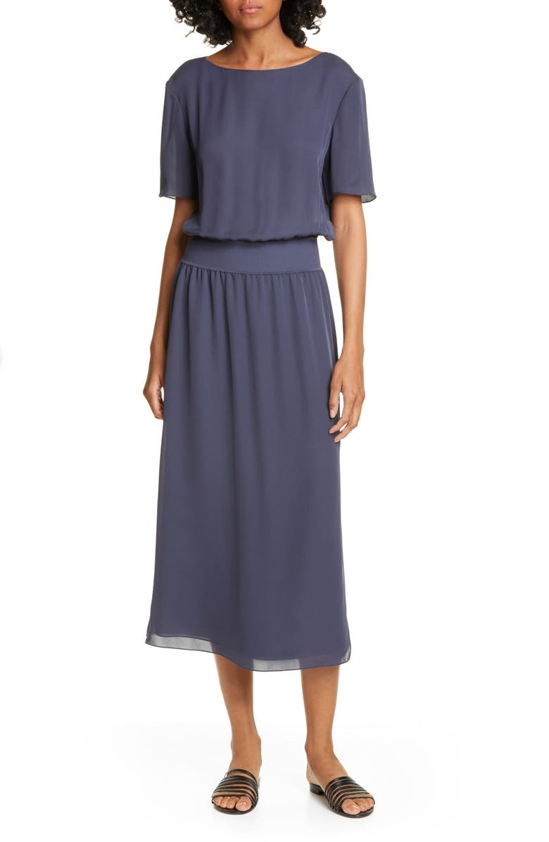 THEORY Silk Rib Waist Midi Dress, Main, color, 428