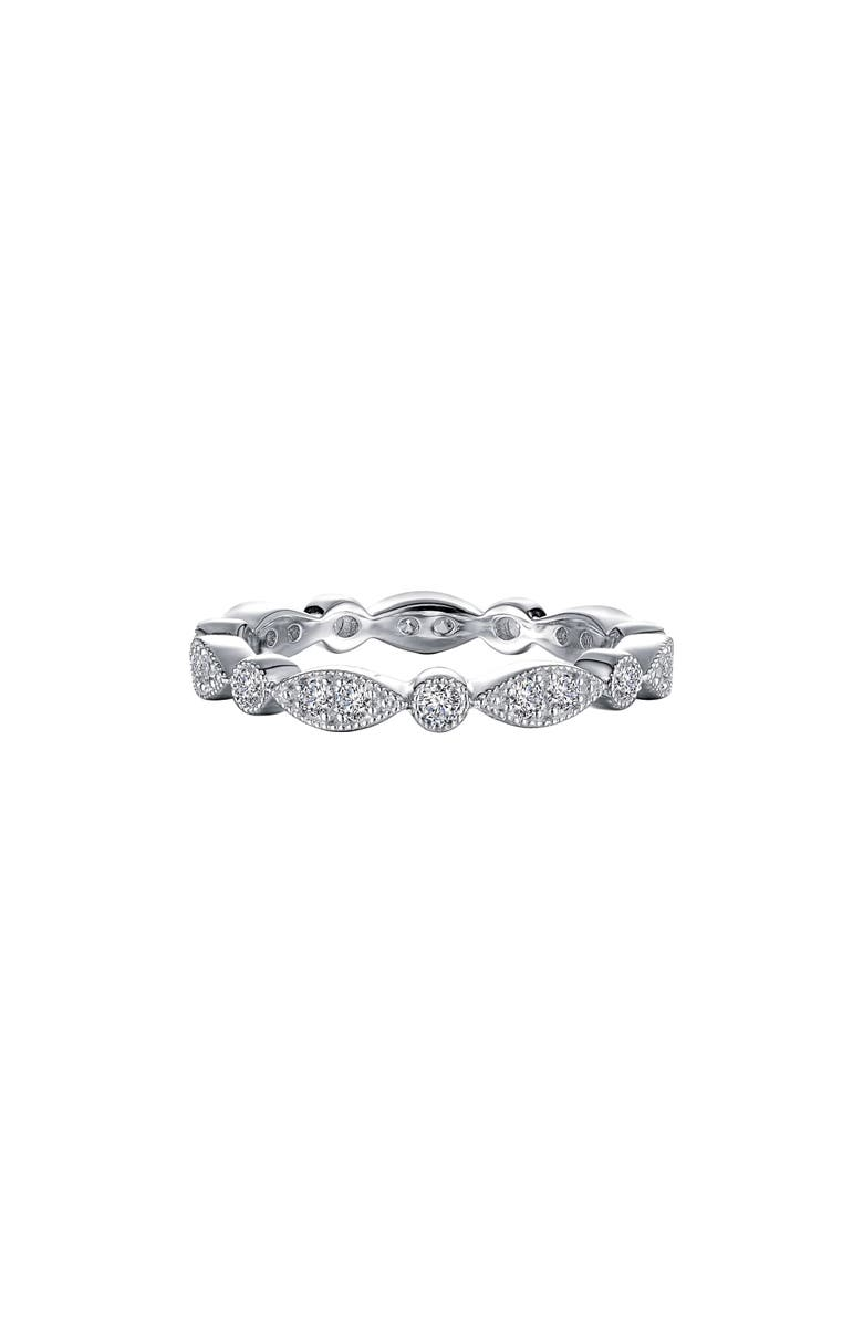 LAFONN Wave Simulated Diamond Eternity Band, Main, color, SILVER/CLEAR