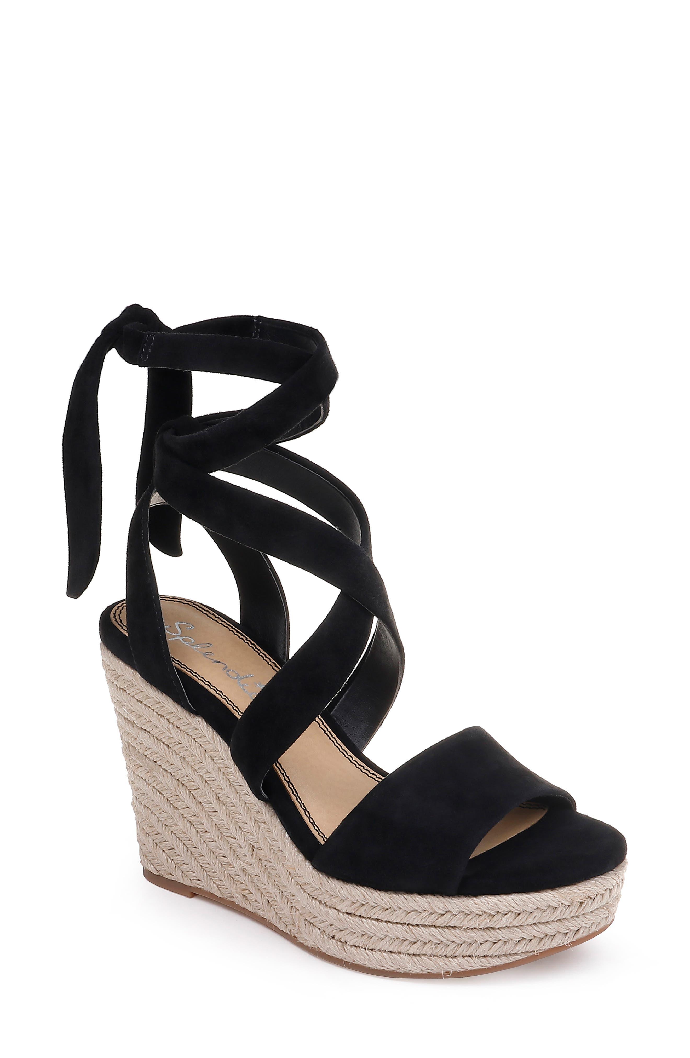 Splendid Tessie Ankle Wrap Wedge Sandal- Black