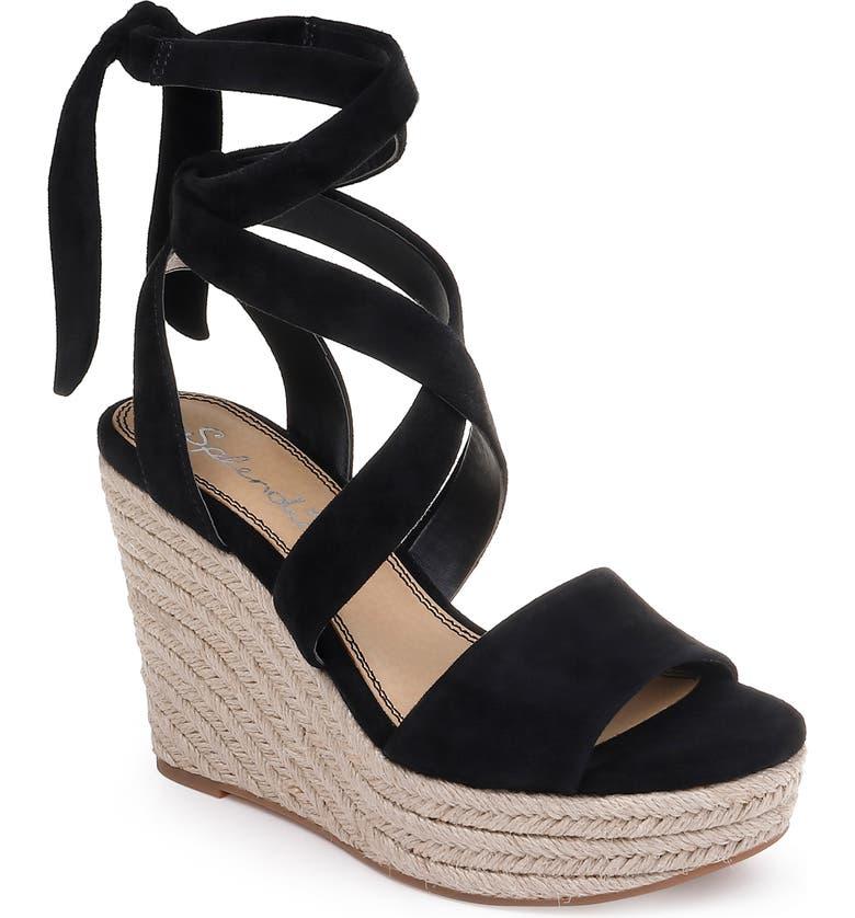 SPLENDID Tessie Ankle Wrap Wedge Sandal, Main, color, BLACK SUEDE
