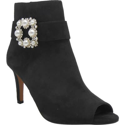 J. Renee Pranati Embellished Open Toe Bootie - Black