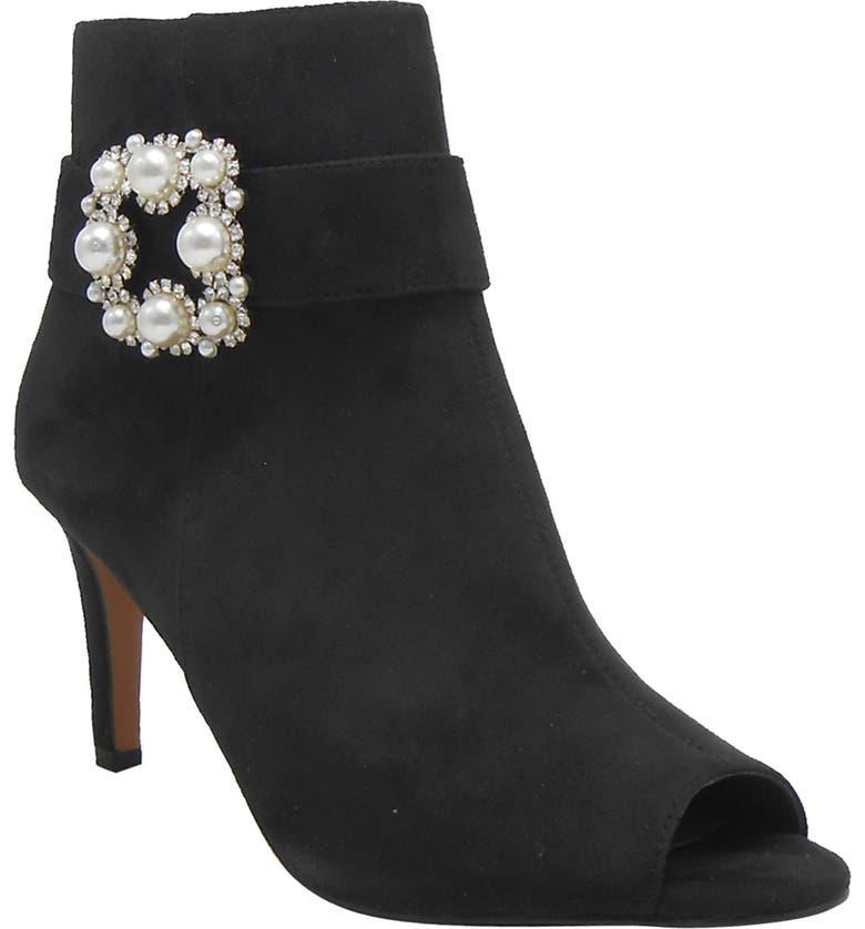 J. RENEÉ Pranati Embellished Open Toe Bootie, Main, color, BLACK FAUX SUEDE FABRIC