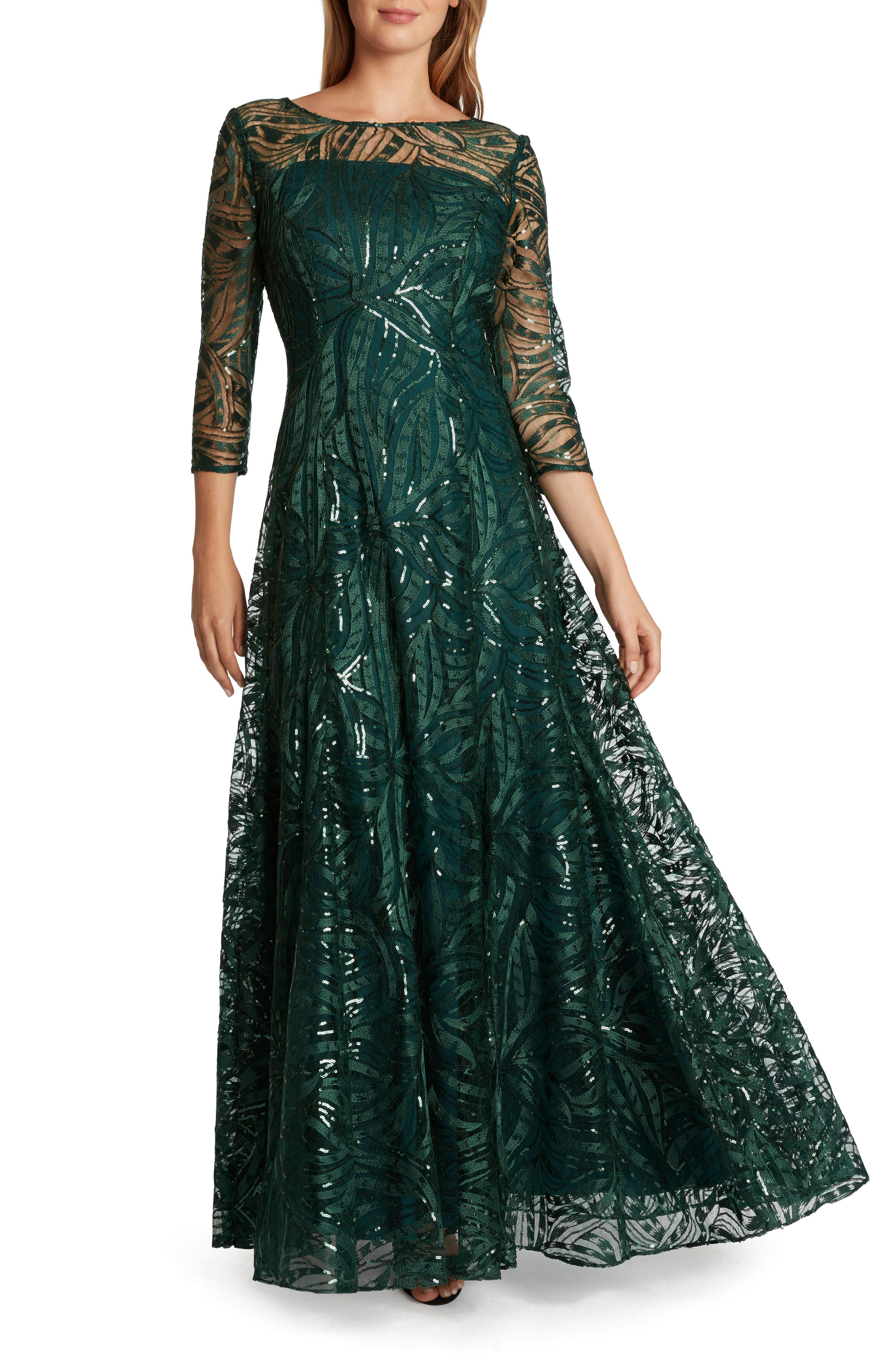1950s History of Prom, Party, and Formal Dresses Womens Tahari Embroidered Sequin A-Line Gown Size 2 - Green $278.00 AT vintagedancer.com