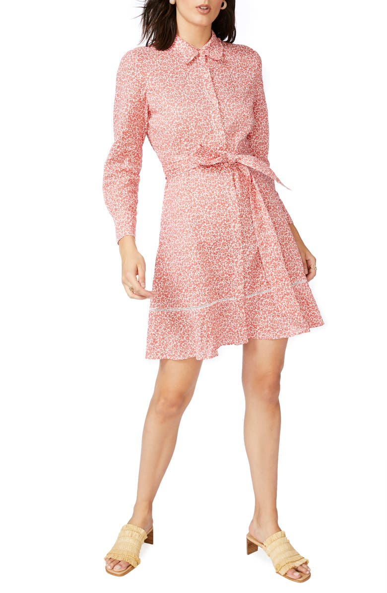 COURT & ROWE Floral Print Long Sleeve Shirtdress, Main, color, CHEEKY PEACH