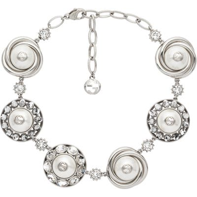 Gucci Interlocking-G Imitation Pearl & Cubic Zirconia Necklace