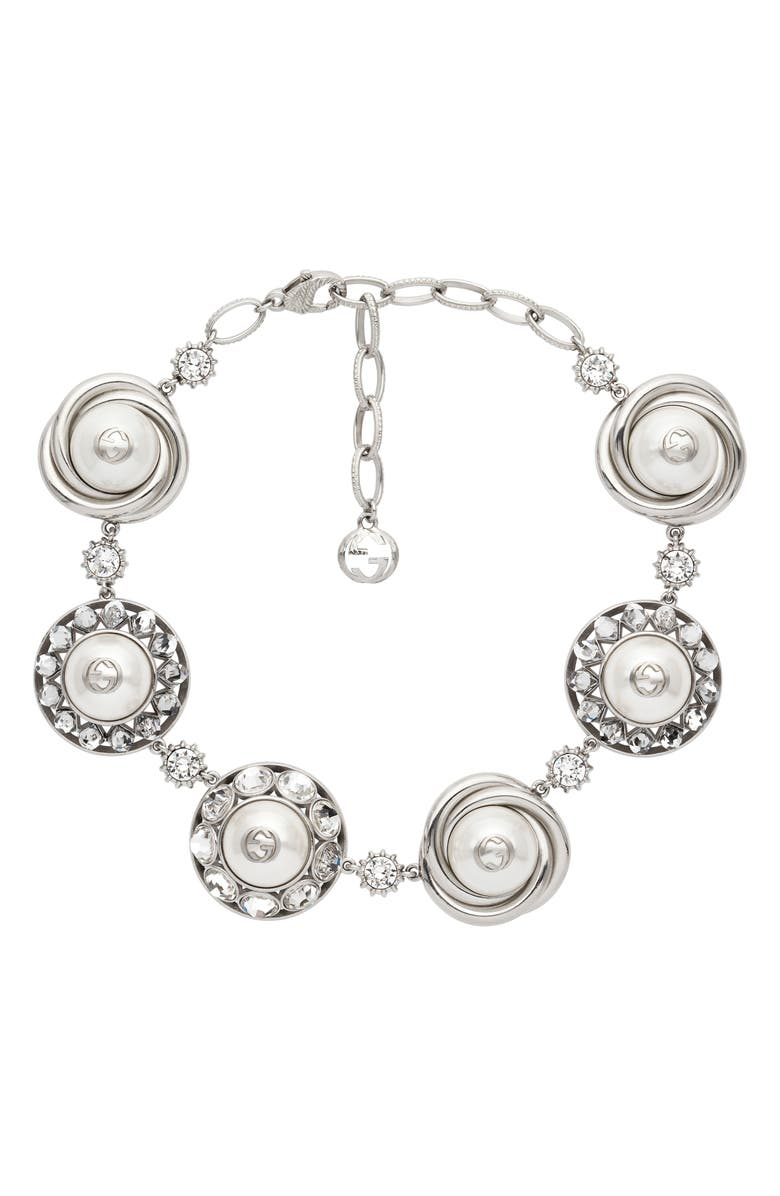 GUCCI Interlocking-G Imitation Pearl & Cubic Zirconia Necklace, Main, color, GOLD/ GRN CRYSTAL
