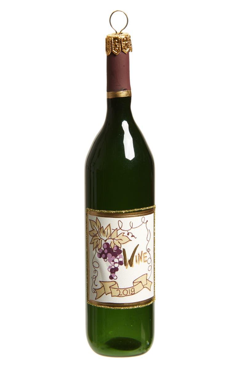 NORDSTROM Wine Bottle Glass Ornament, Main, color, RED MULTI