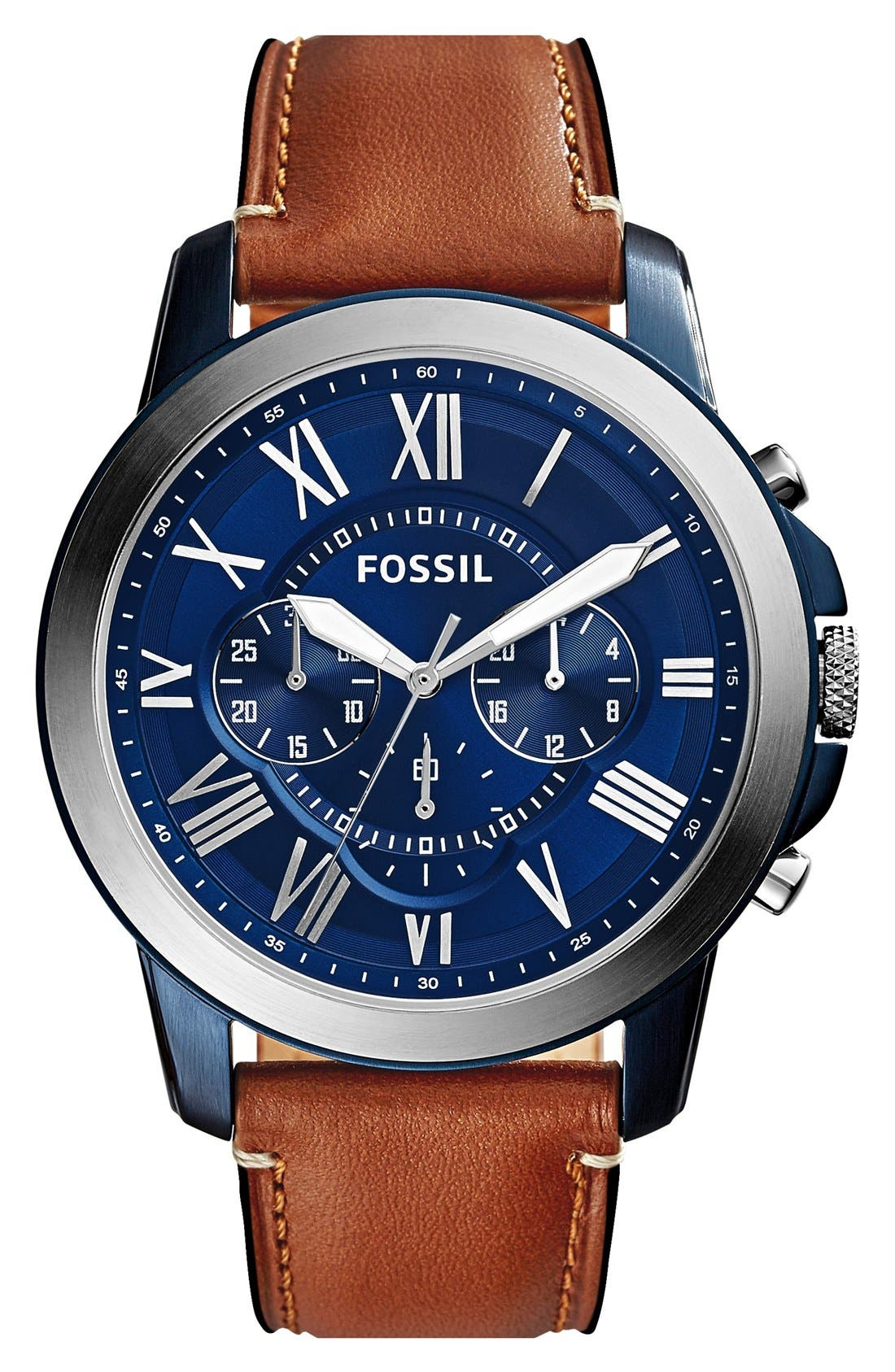 ,                             'Grant' Round Chronograph Leather Strap Watch, 44mm,                             Main thumbnail 1, color,                             LIGHT BROWN/ BLUE