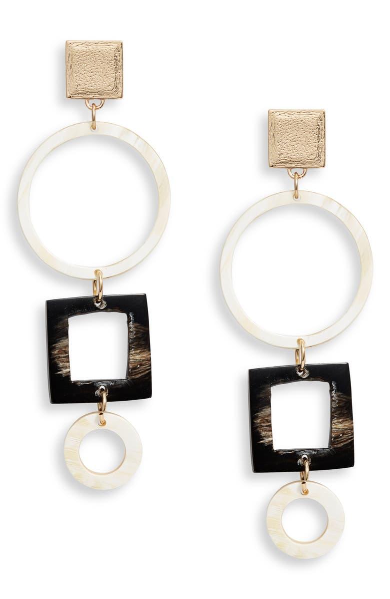 AKOLA Ode Geo Drop Earrings, Main, color, BLACK/ WHITE