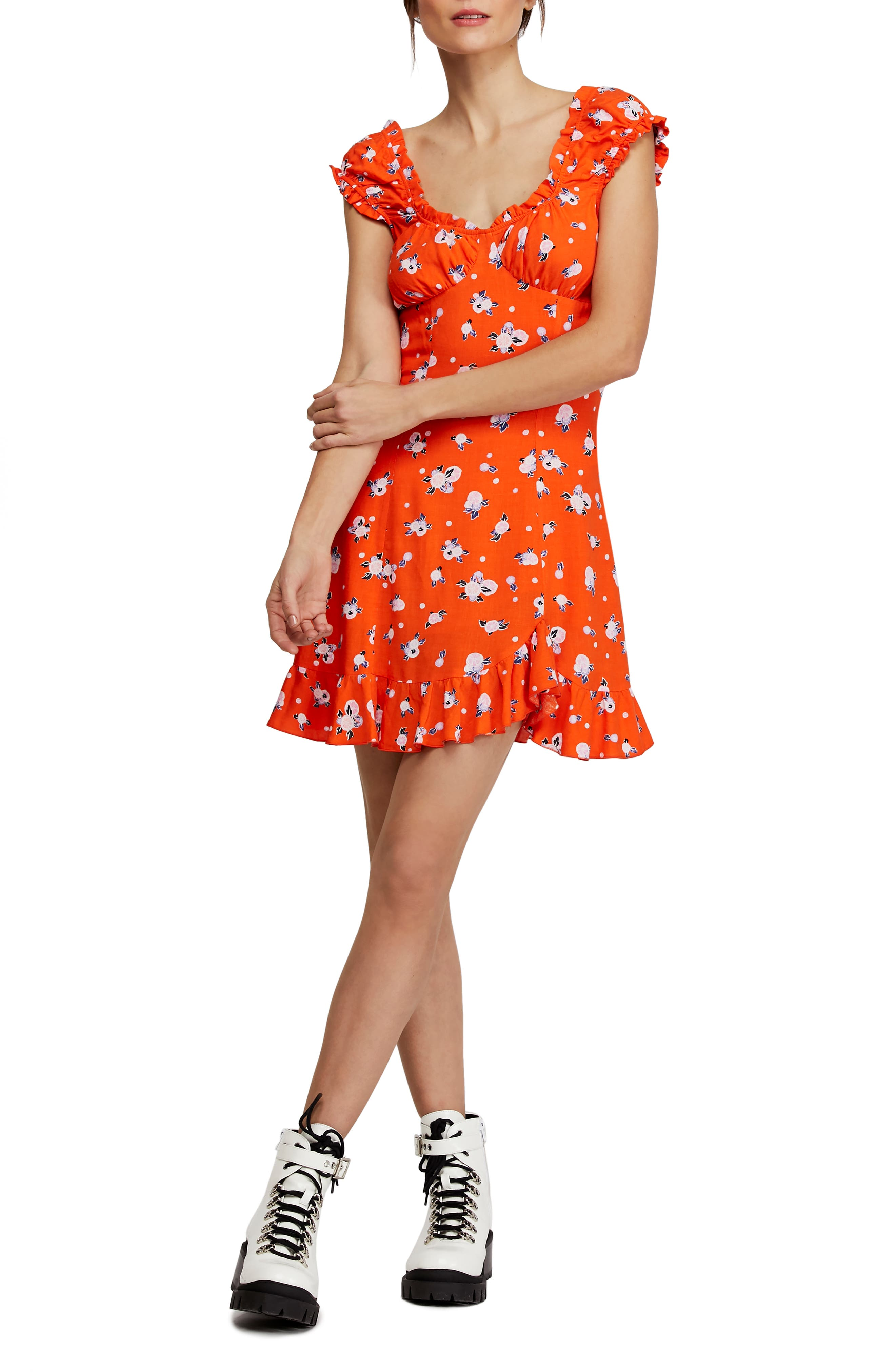 Free People Like A Lady Print Minidress, Orange