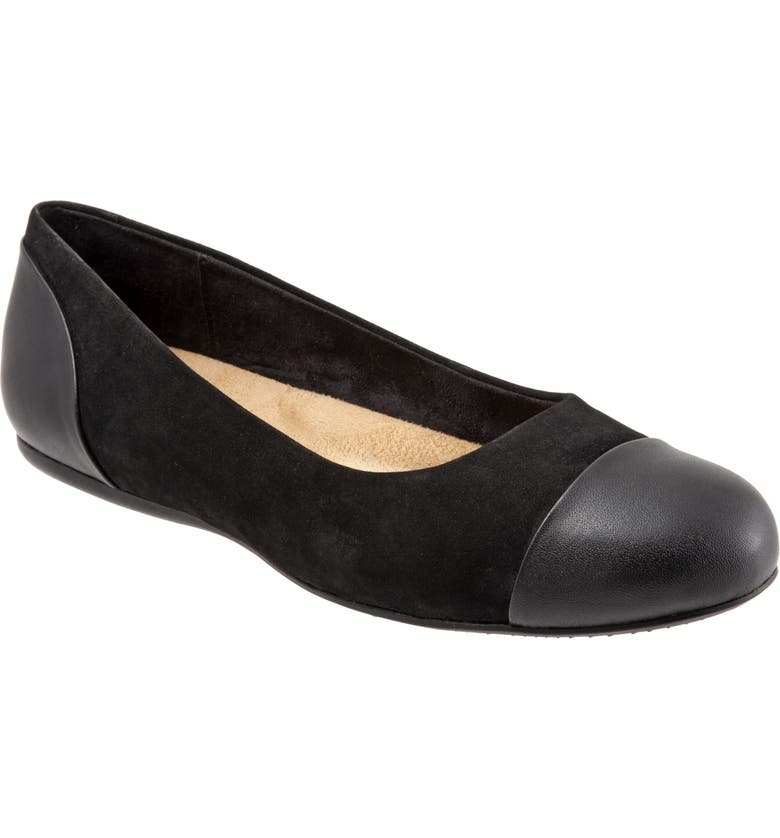 SOFTWALK<SUP>®</SUP> Sonoma Cap Toe Flat, Main, color, BLACK LEATHER