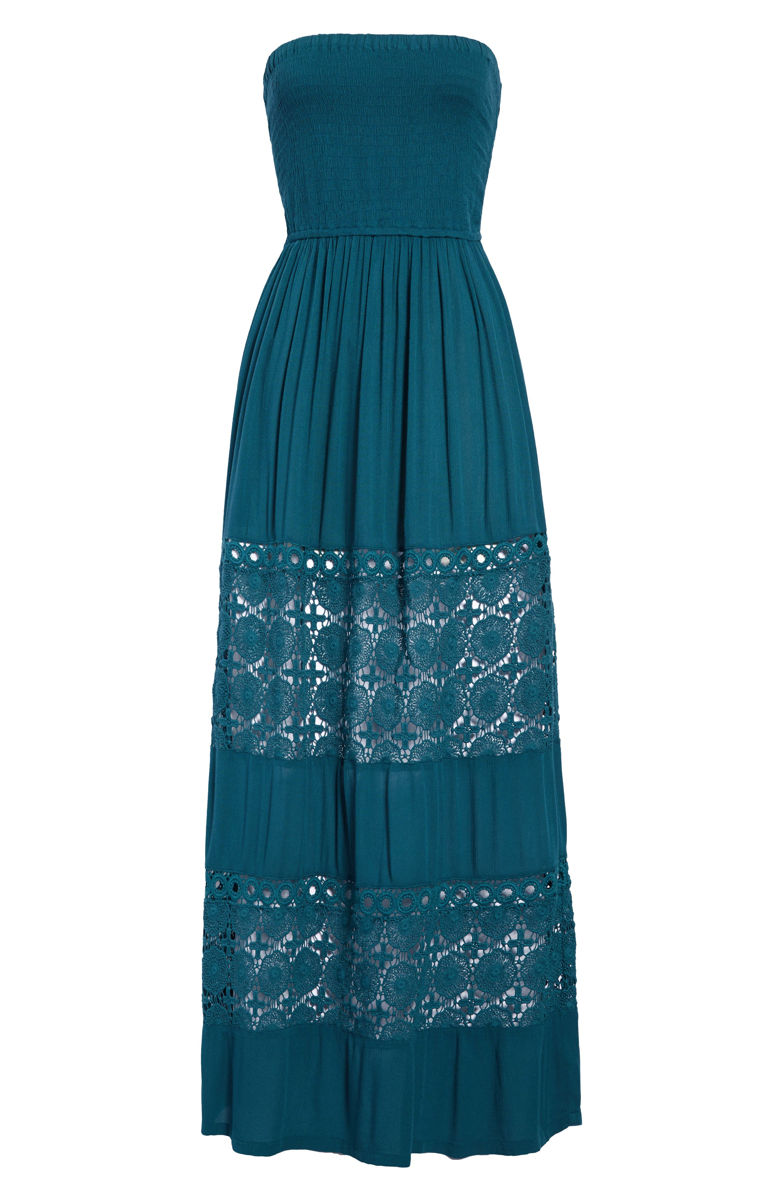 Post-beach covering couldn\\\'t be easier or more stylish that this throw-on-and-go dress that makes a stop at the waterfront cafe a more attractive proposition. Style Name: Chelsea28 Farrah Smocked Cover-Up Maxi Dress. Style Number: 5584802. Available in stores.