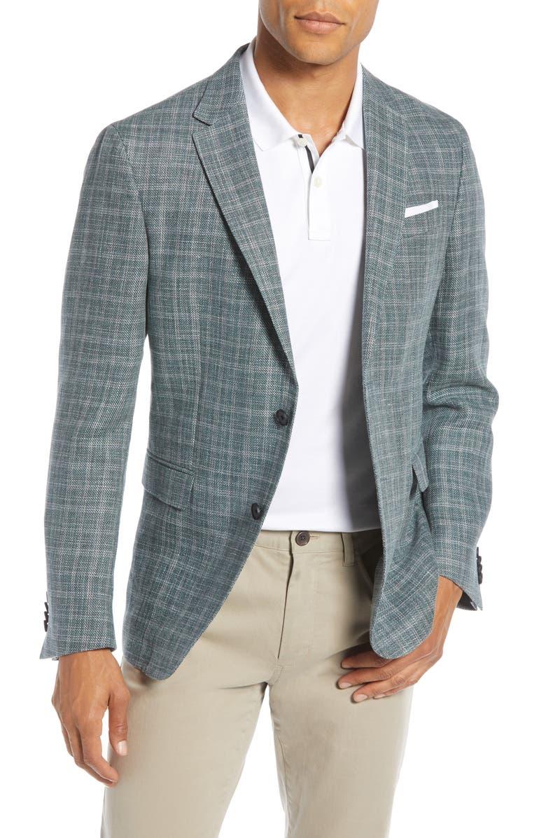 BOSS Nobis Slim Fit Plaid Linen & Wool Sport Coat, Main, color, 351