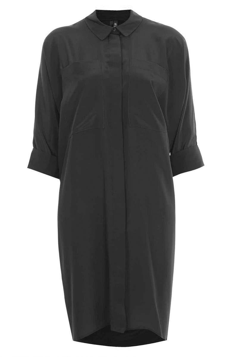 TOPSHOP BOUTIQUE Silk Shirtdress, Main, color, 001