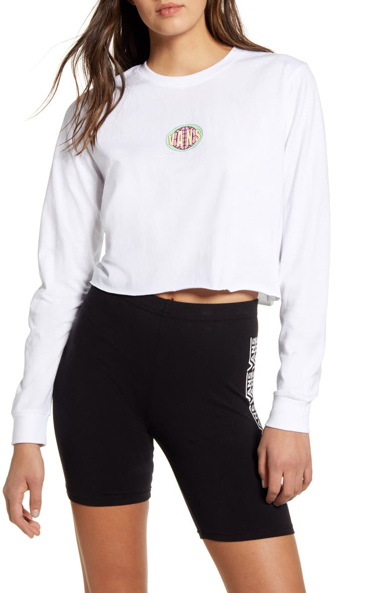 VANS Ovaloid Long Sleeve Crewneck Crop Graphic Tee, Main, color, WHITE