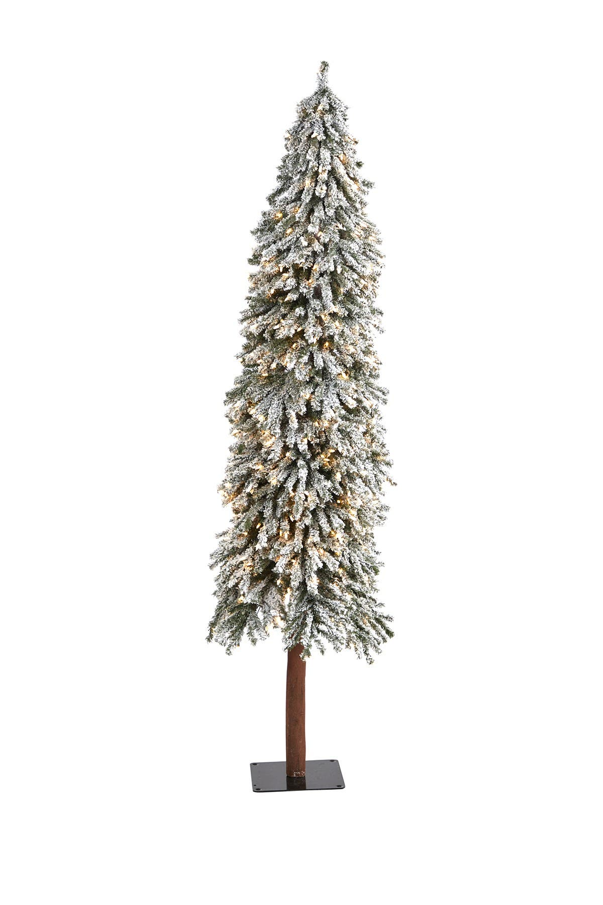 Image of NEARLY NATURAL 7ft. Flocked Grand Alpine Artificial Christmas Tree with 400 Clear Lights on Natural Trunk