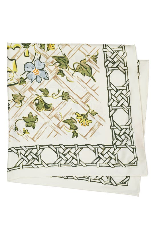 Tory Burch Painted Caning With Birds Silk Square Scarf In New Ivory