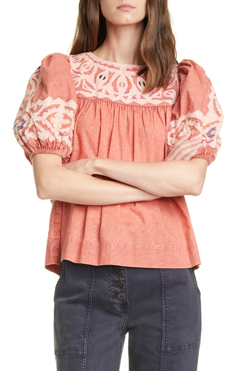 ULLA JOHNSON Aleida Puff Sleeve Top, Main, color, SUNBLEACHED ROSE
