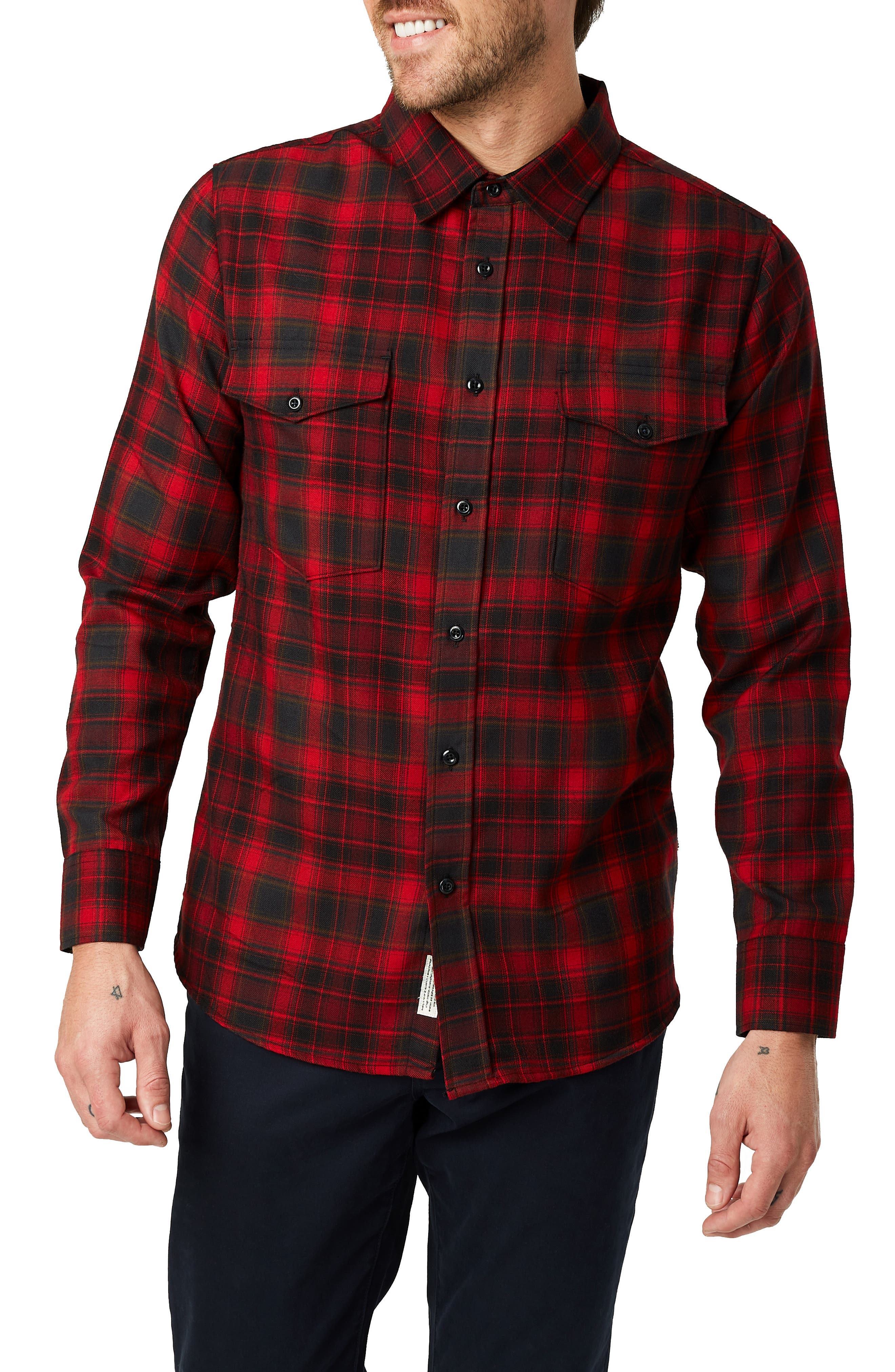 Image of 7 Diamonds Spruce Slim Fit Plaid Flannel Shirt