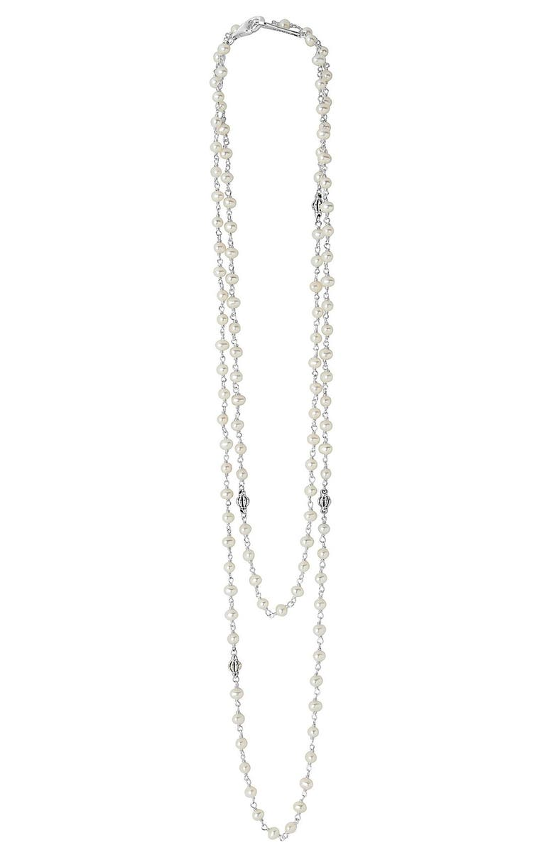 LAGOS 'Luna' Long Pearl Necklace, Main, color, SILVER/ PEARL