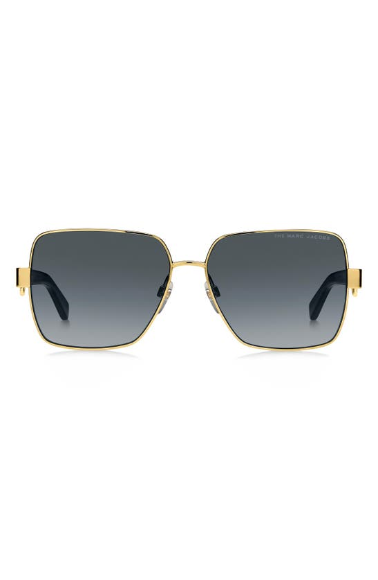 Marc Jacobs 58mm Chained Square Sunglasses In Gold/ Dark Grey Gradient