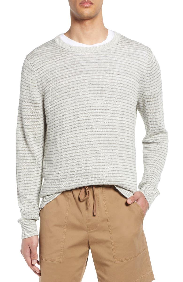 VINCE Stripe Crewneck Linen Sweater, Main, color, H WHITE/ H GREY