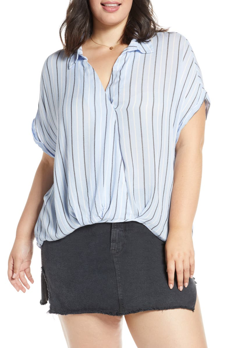 BP Surplice Stripe Shirt Plus Size