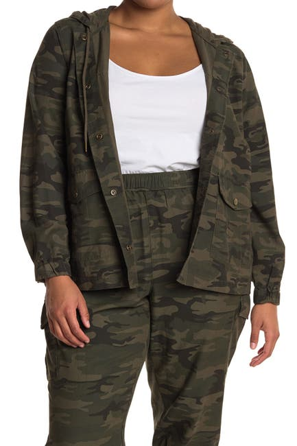 Image of Sanctuary Hooded Camo Utility Jacket
