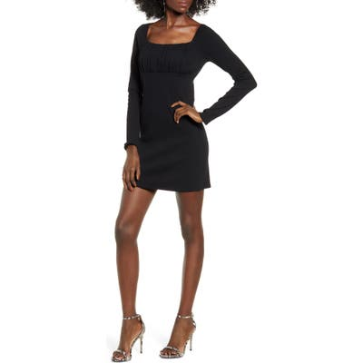 Leith Empire Waist Long Sleeve Cotton Blend Minidress, Black