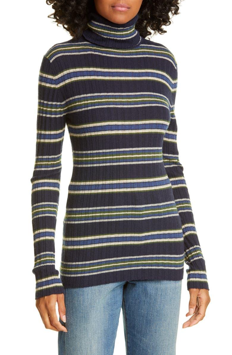 AUTUMN CASHMERE Stripe Ribbed Turtleneck Cashmere Sweater, Main, color, PEACOAT COMBO