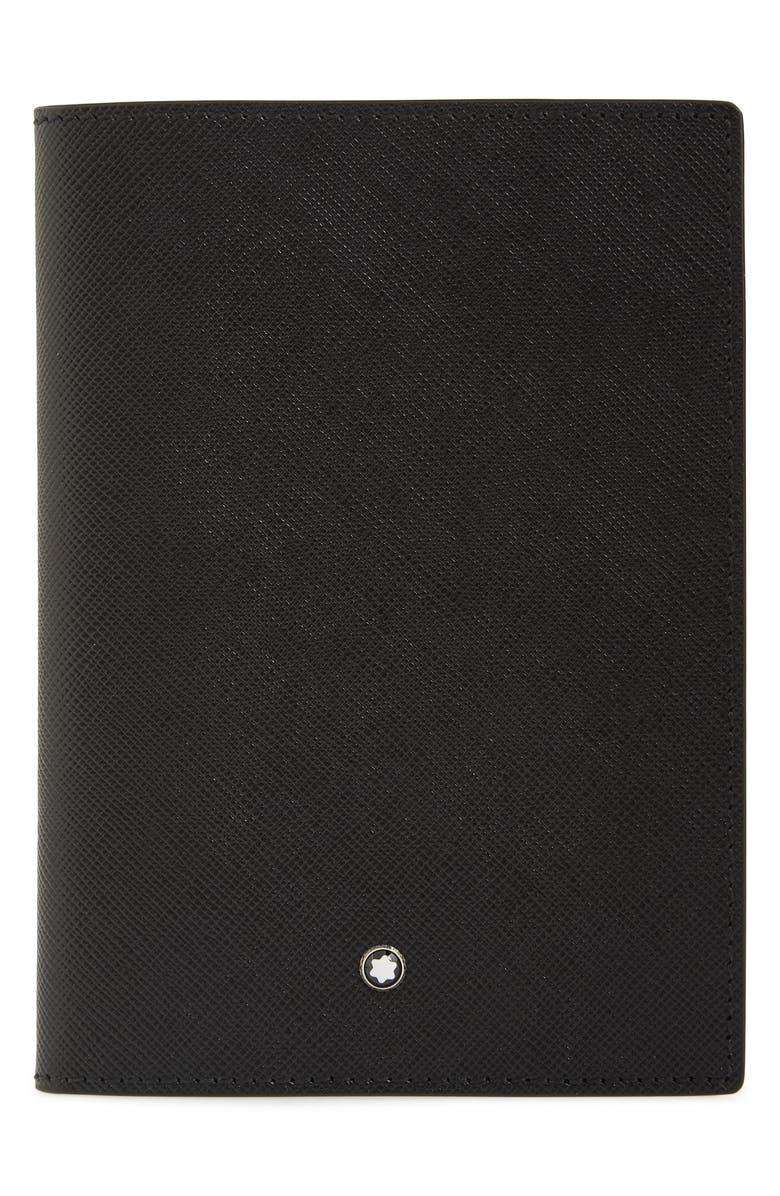 MONTBLANC Sartorial Leather Passport Holder, Main, color, BLACK