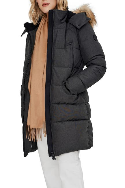 Image of NOIZE Addie Quilted Faux Fur Trim Hooded Parka