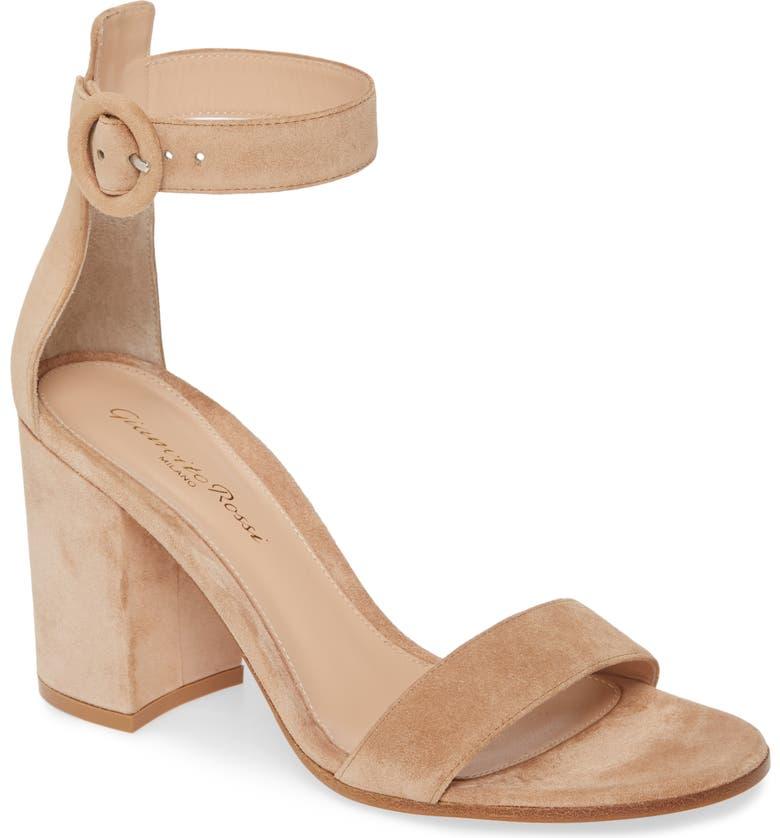 GIANVITO ROSSI Block Heel Sandal, Main, color, SAHARA SUEDE
