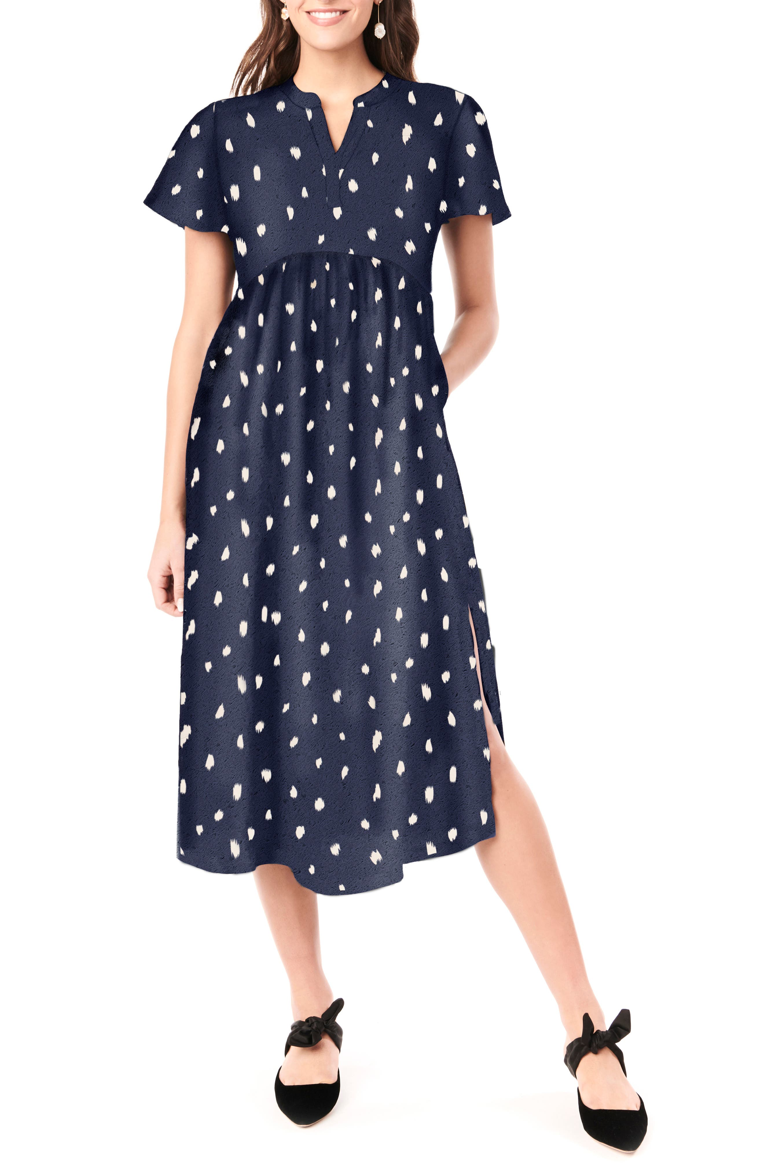 Vintage Maternity Dresses and Clothes Womens Loyal Hana Lily Flutter Sleeve Maternity Midi Dress Size Small - Blue $150.00 AT vintagedancer.com