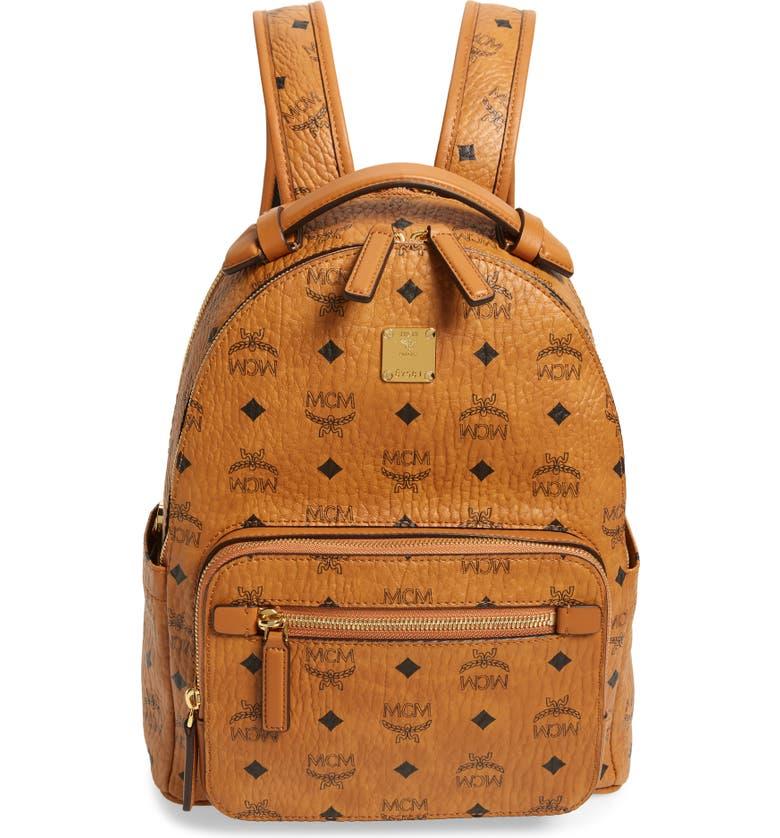 MCM Stark 32 Visetos Coated Canvas Backpack, Main, color, COGNAC