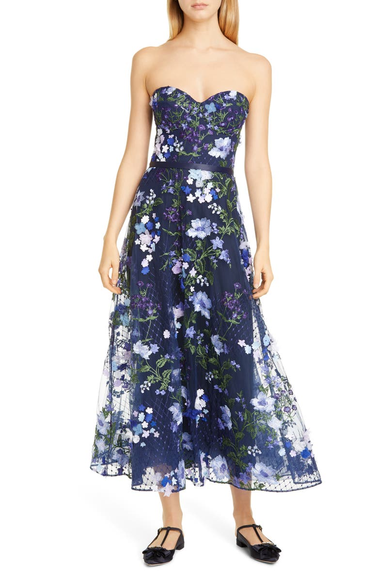 MARCHESA NOTTE 3D Floral Lace Midi Dress, Main, color, NAVY