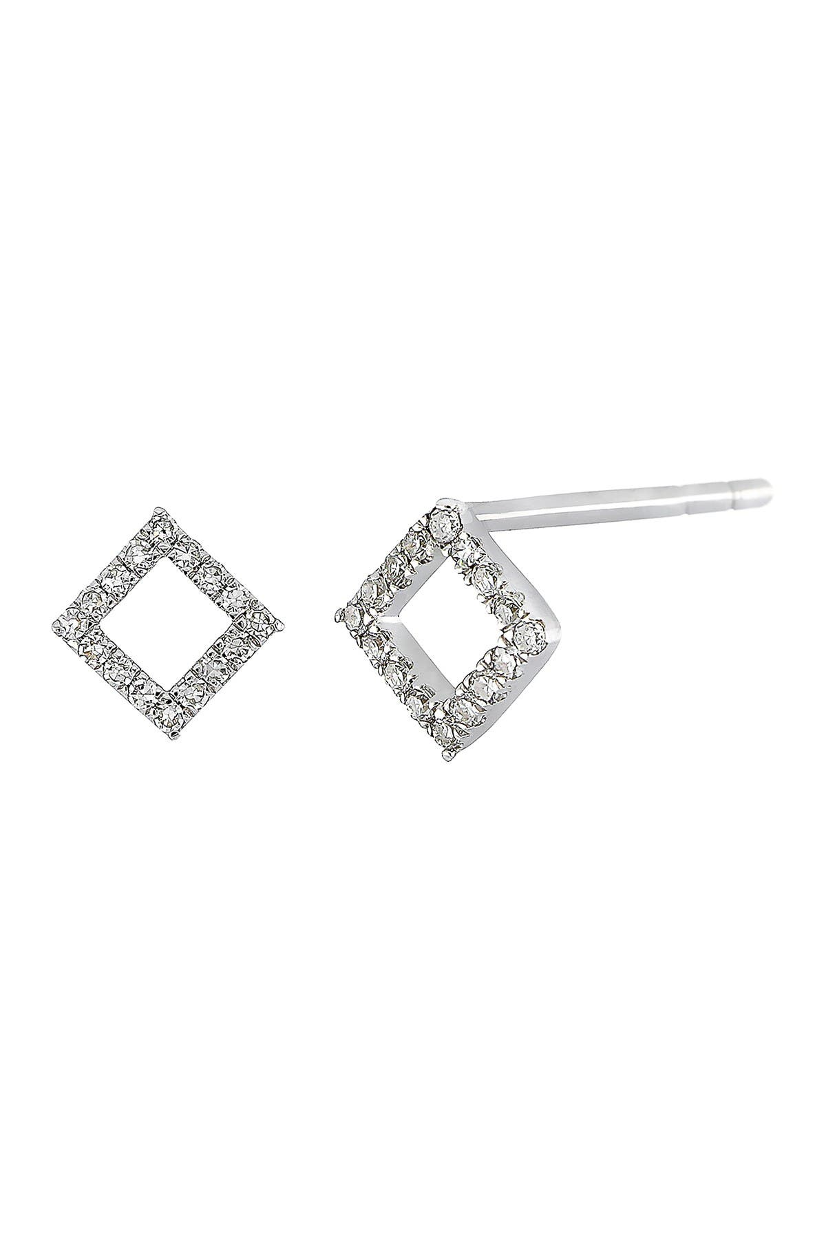 Image of Carriere Sterling Silver Pave Diamond Open Shape Stud Earrings - 0.16 ctw