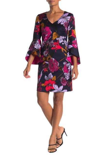 Image of Trina Turk Cheers Bell Sleeve Floral Print Dress